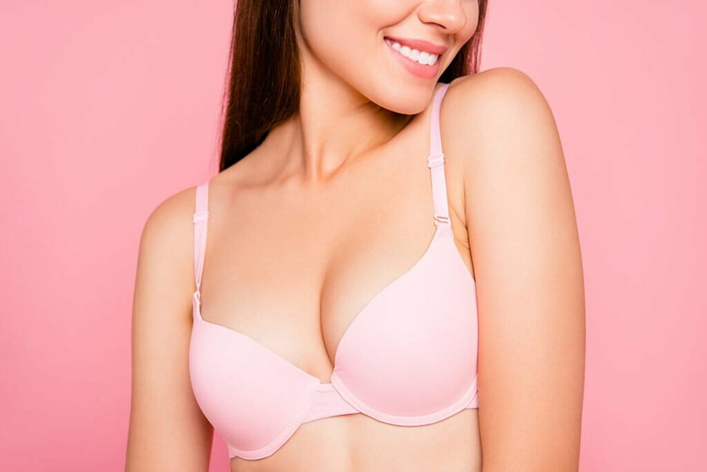 Woman in Bra after Breast and Chest Rejuvenation With PRP Treatment in Lemont, Illinois at Solana Aesthetics and Wellness Spa